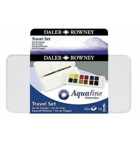 Daler Rowney Aquafine Sulu Boya 12 Renk Travel set