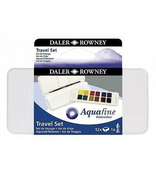 Daler Rowney Aquafine Sulu Boya 12 Renk Travel set