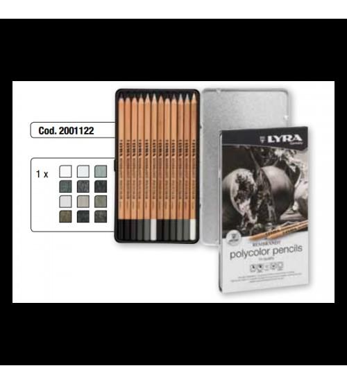 Lyra Rembrandt Polycolor Pencils Hi-Quality 12 Renk Gri Tonlar